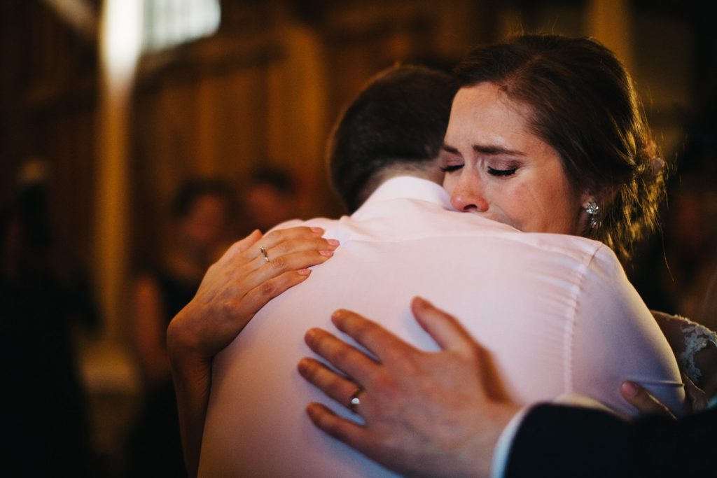 emotional bride during first dance
