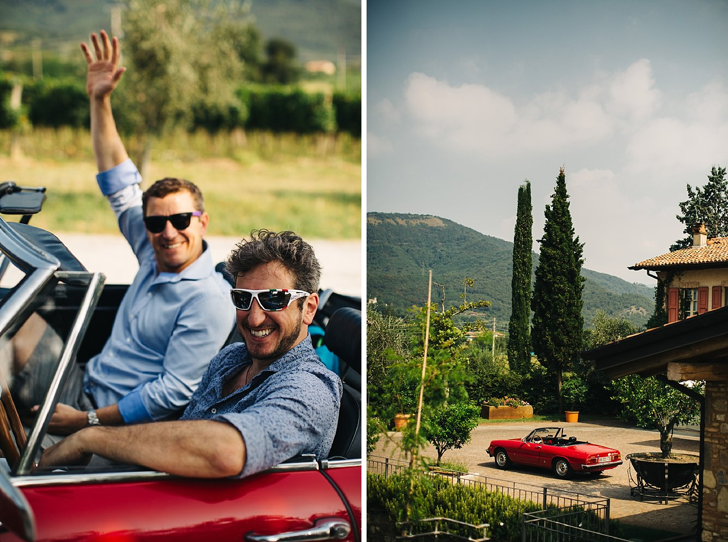 Groom and best man in vintage car