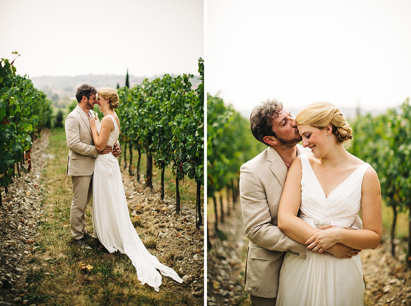 Vineyard wedding portraits near Milan