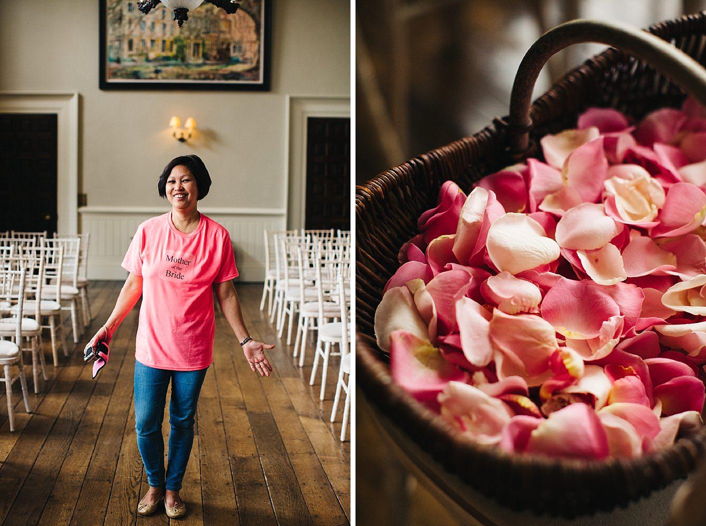 Brides mother and pink petals