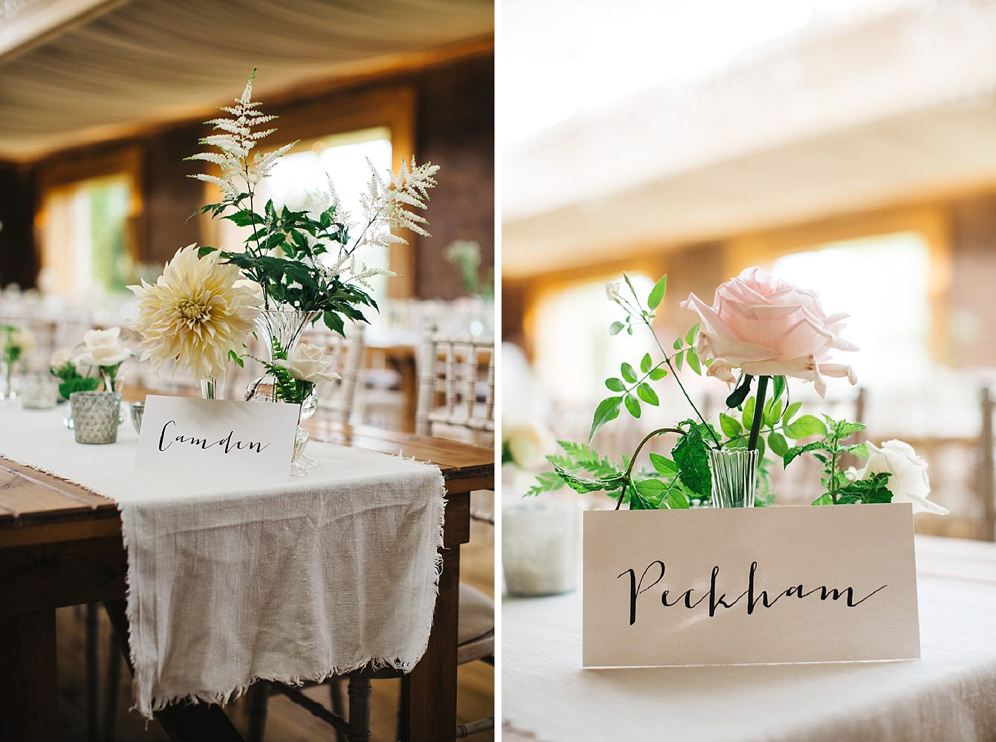 Table names and flowers at elmore court