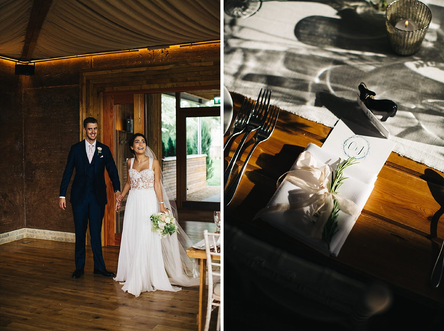 bride and groom look at reception room