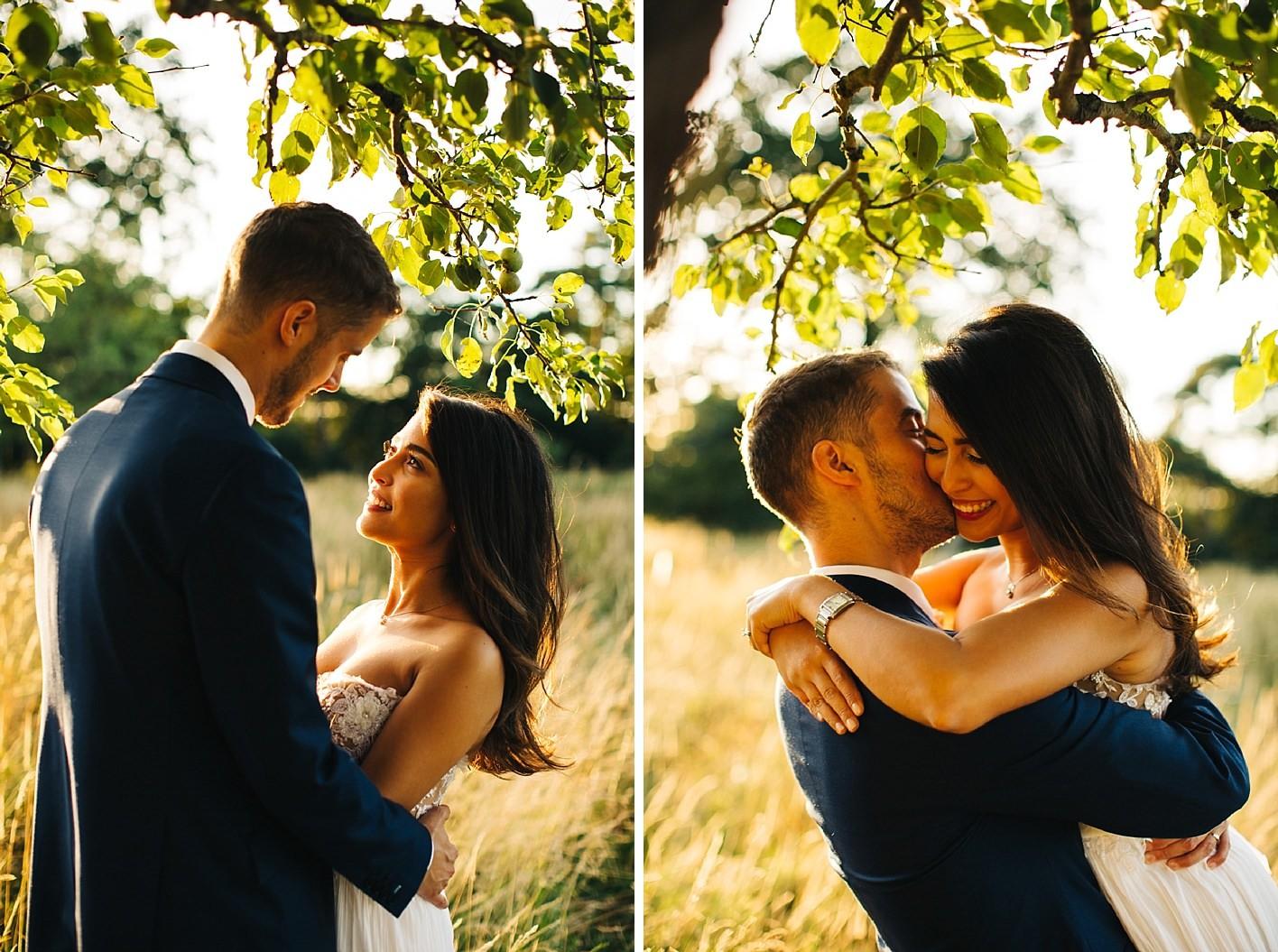 sunset wedding portraits at elmore court