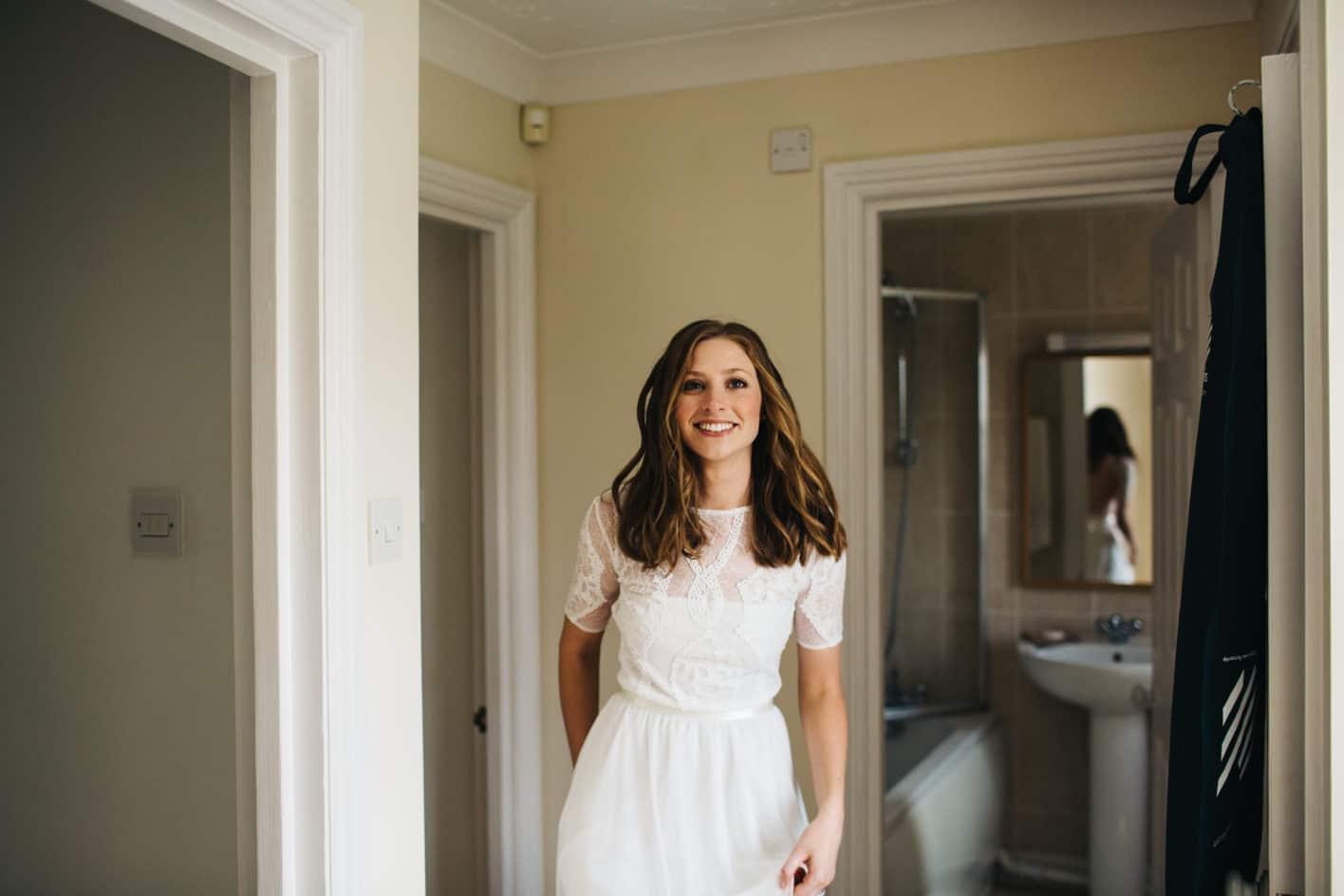 sarah wearing wedding dress
