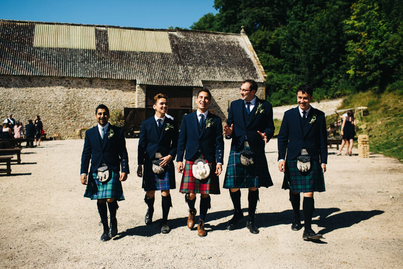 groom and ushers in kilts