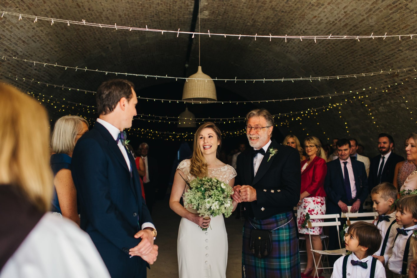 bride with father down aisle