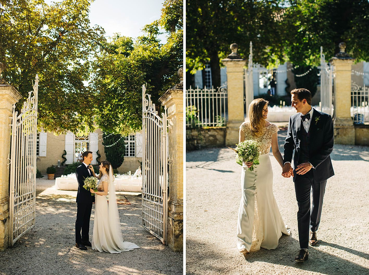 bride and groom at entrace to chateau