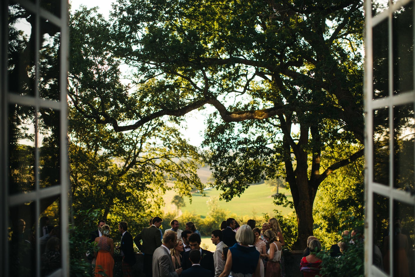 sunset at chateau de lartigolle wedding