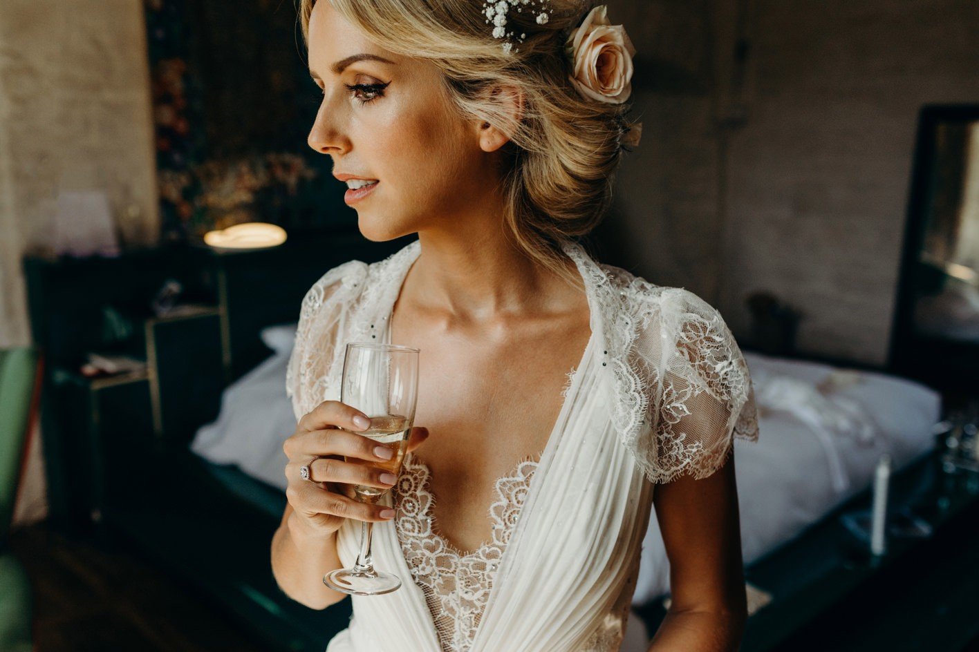 bride wearing jenny packham dress