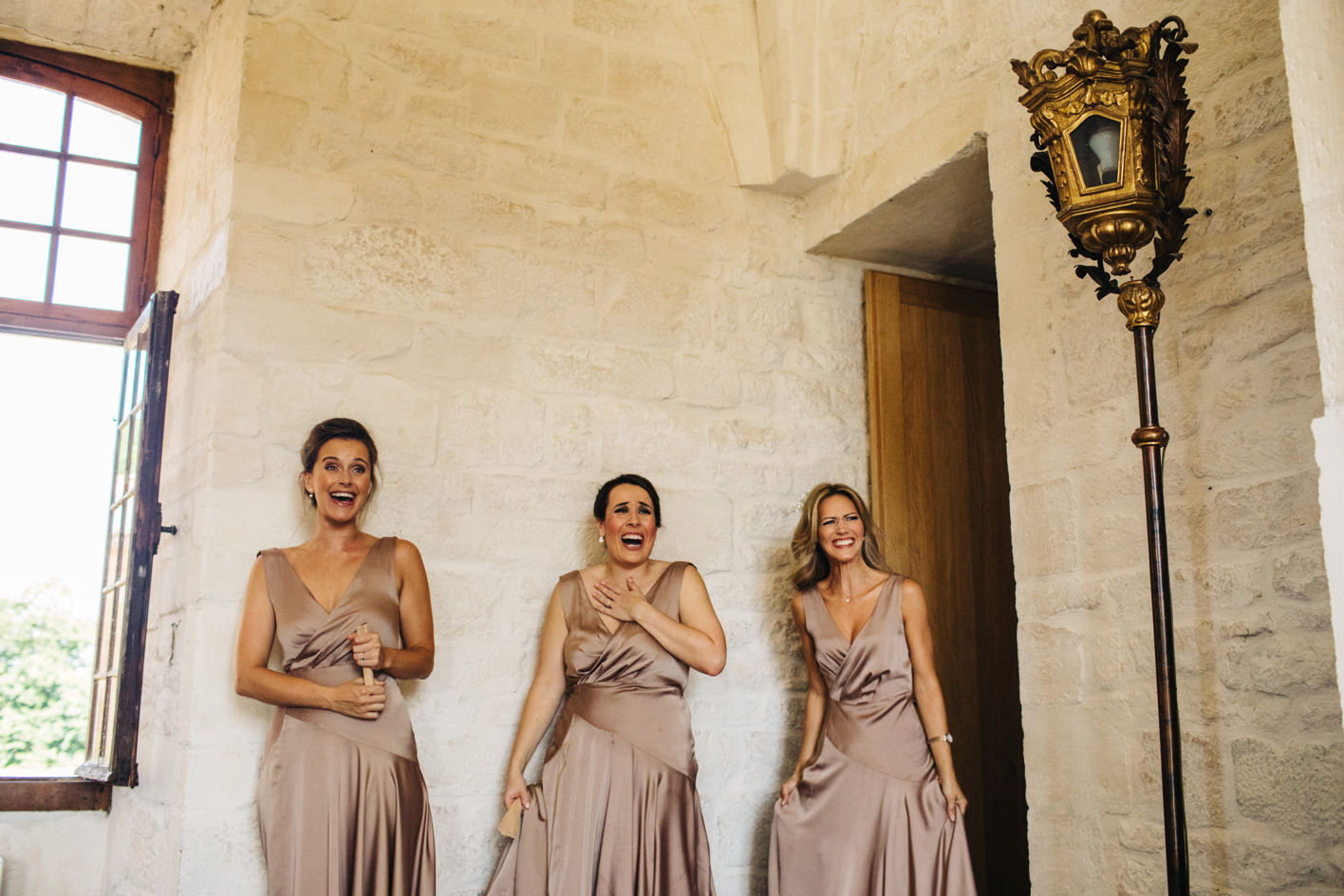 bridesmaid reaction to seeing bride in dress