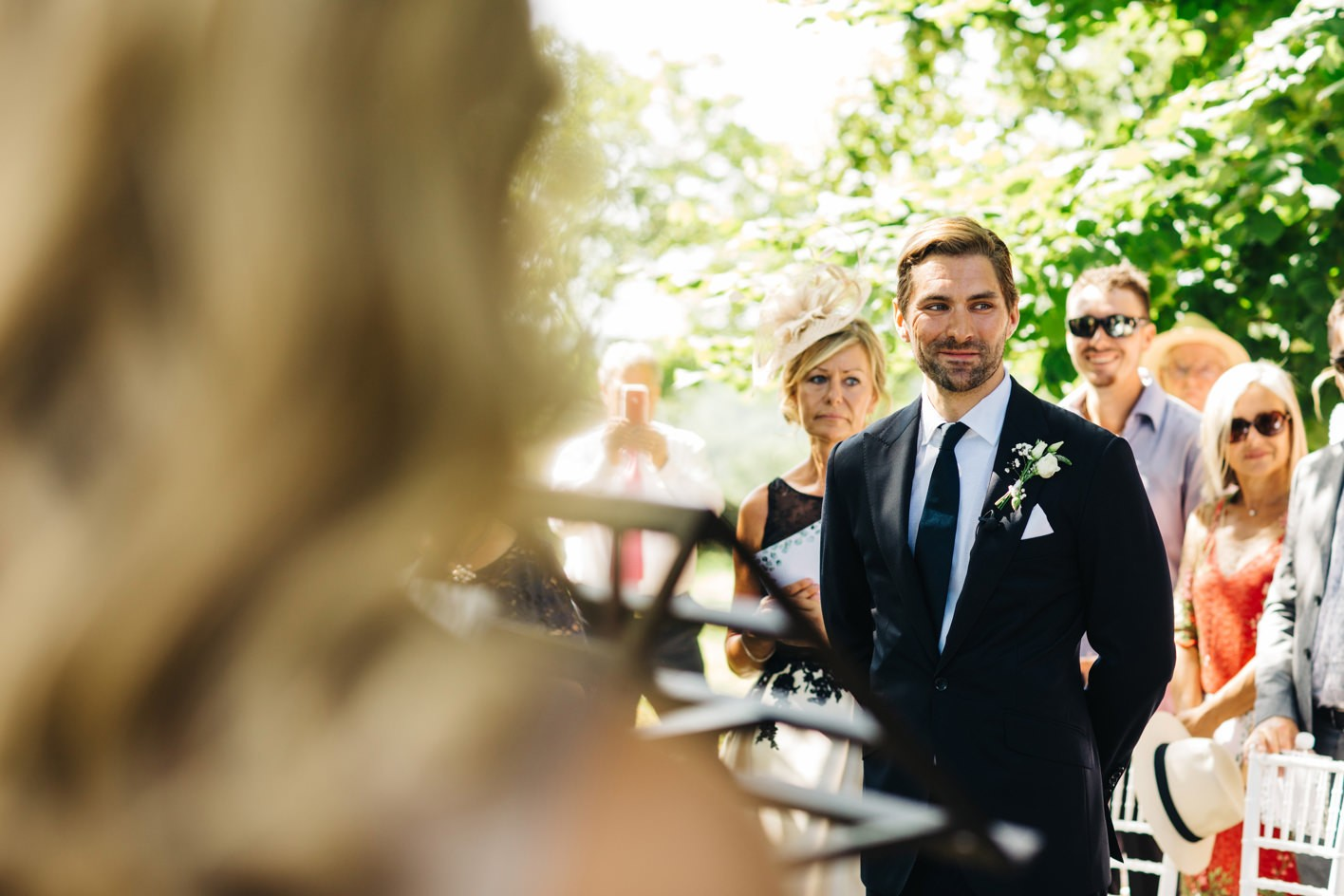 groom sees bride at french wedding