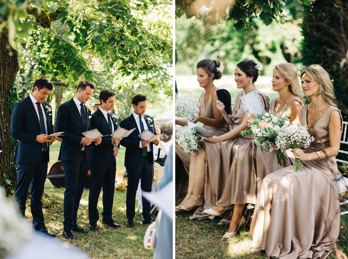 ushers and bridemaids in outdoor french wedding