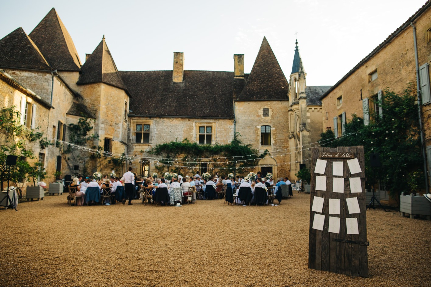 chateau courtyard wedding reception