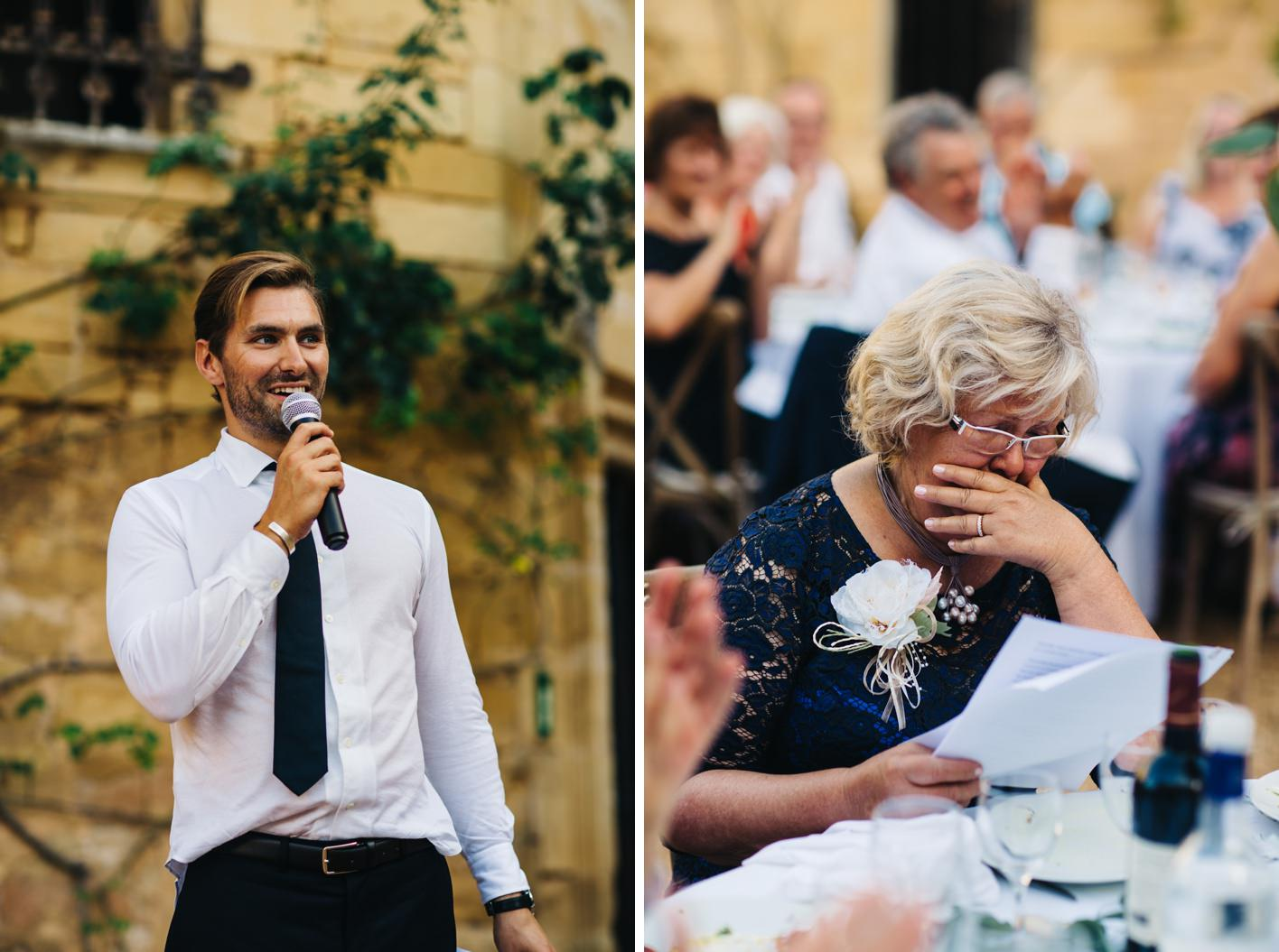 grooms grandmother cries during speech