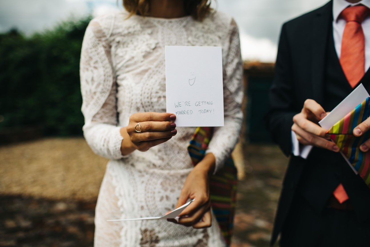 written cards for bride and groom