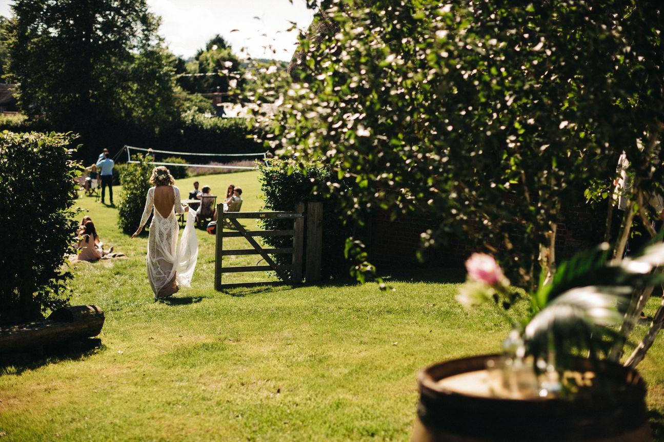 bride walks away