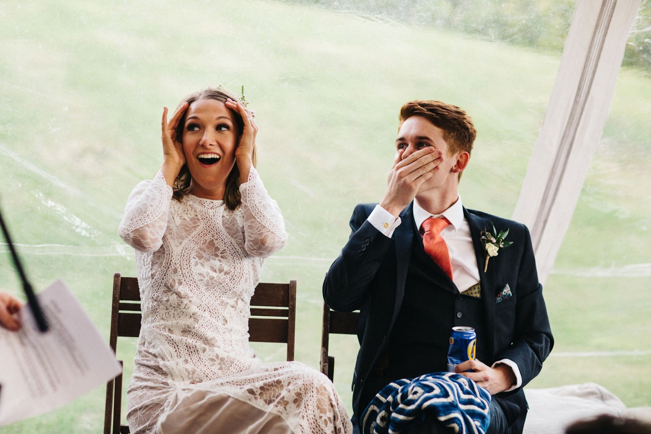 great reactions from bride and groom