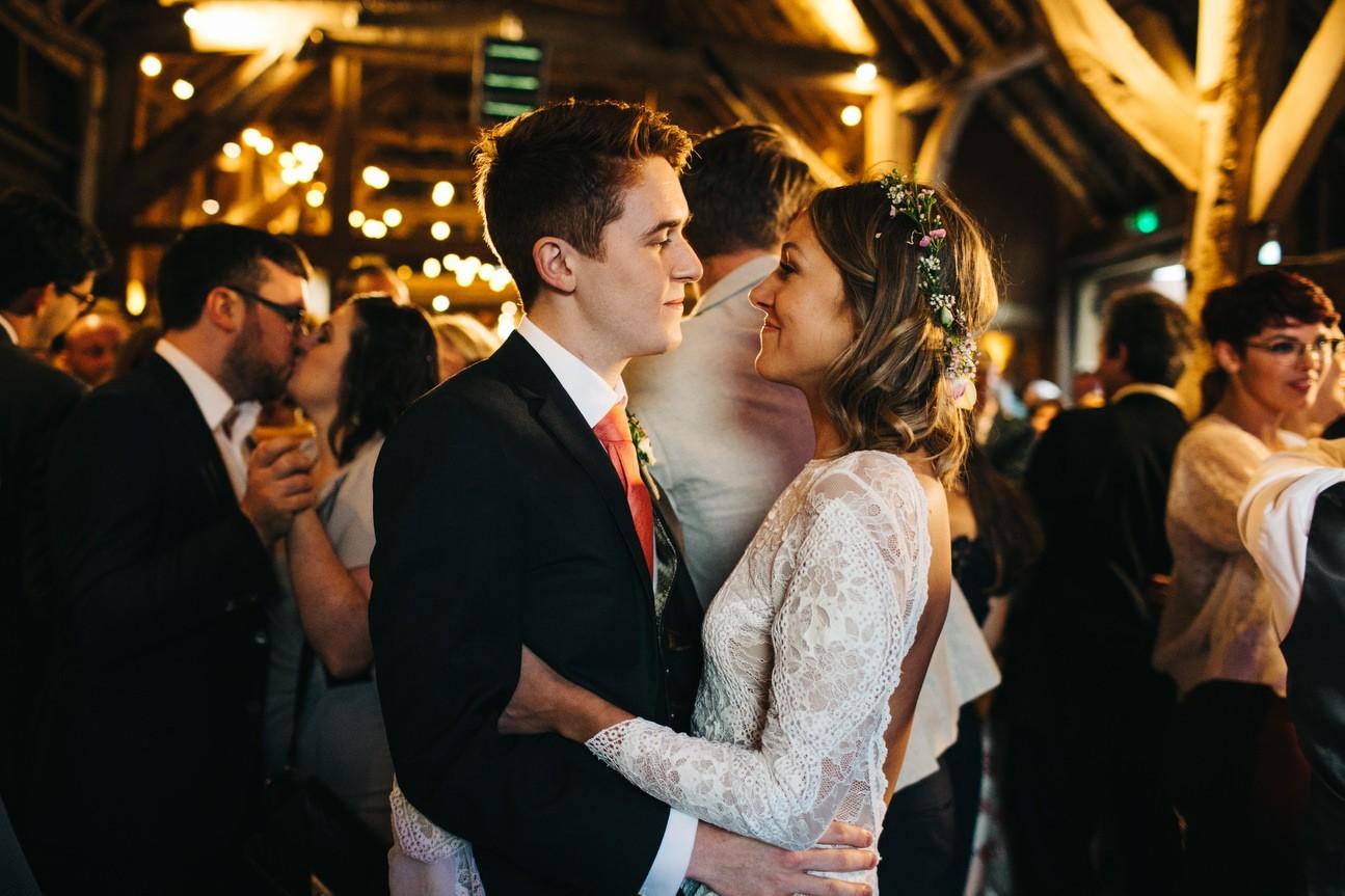 couple dancing in hampshire barn wedding