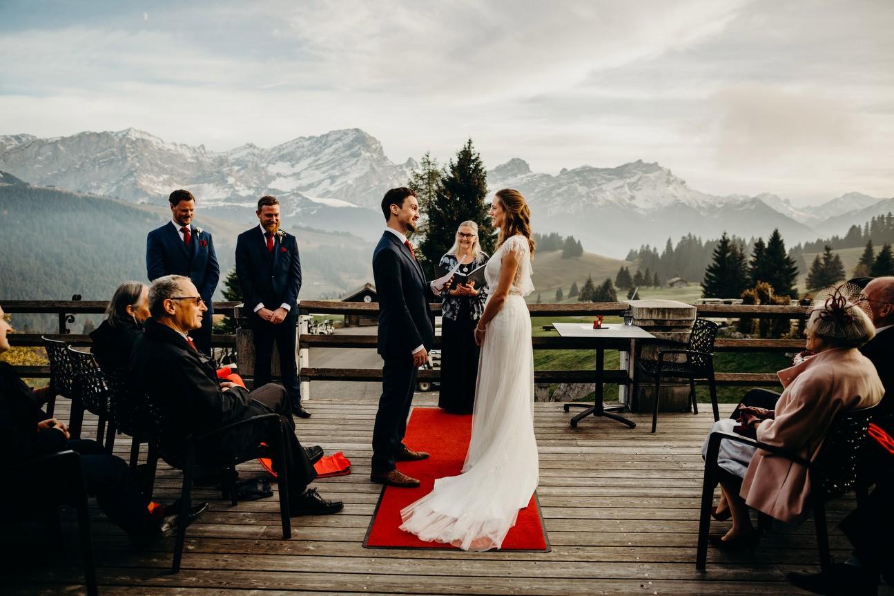 swiss alps wedding ceremony