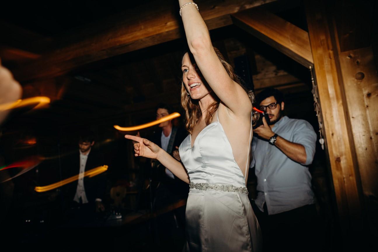 Bride dancing in chalet