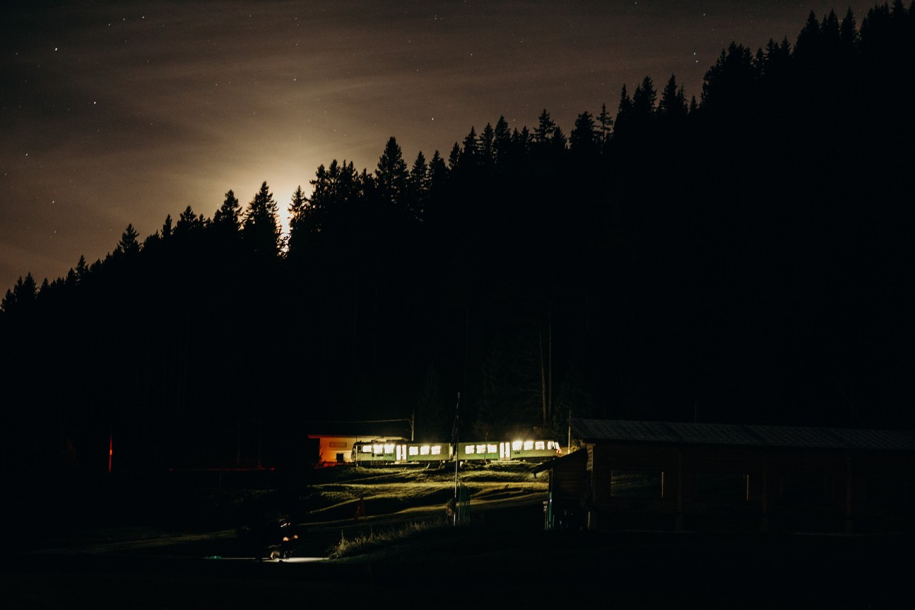 night time at swiss alps wedding