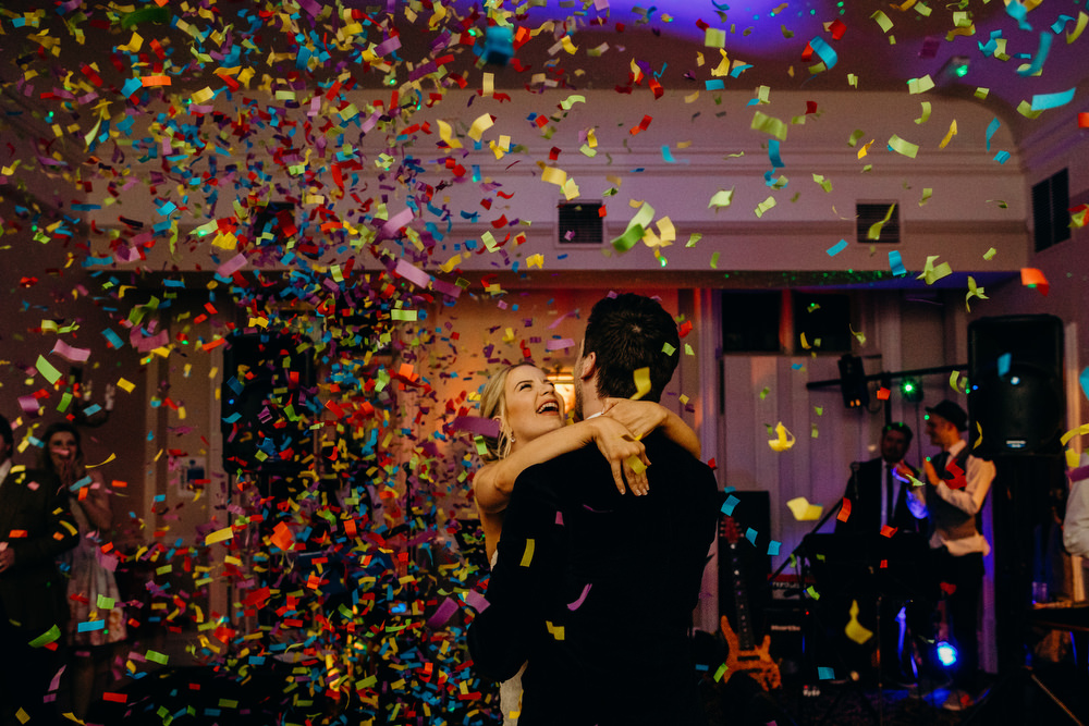 confetti cannons during first dance