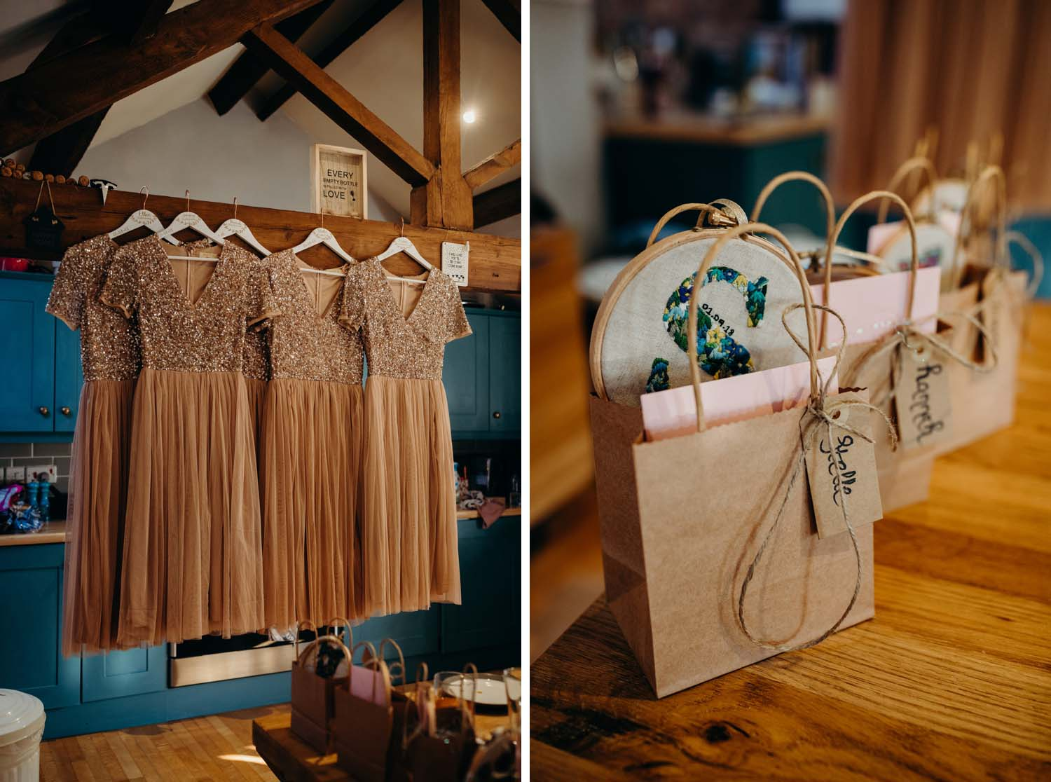 Dresses and gifts for bridesmaids