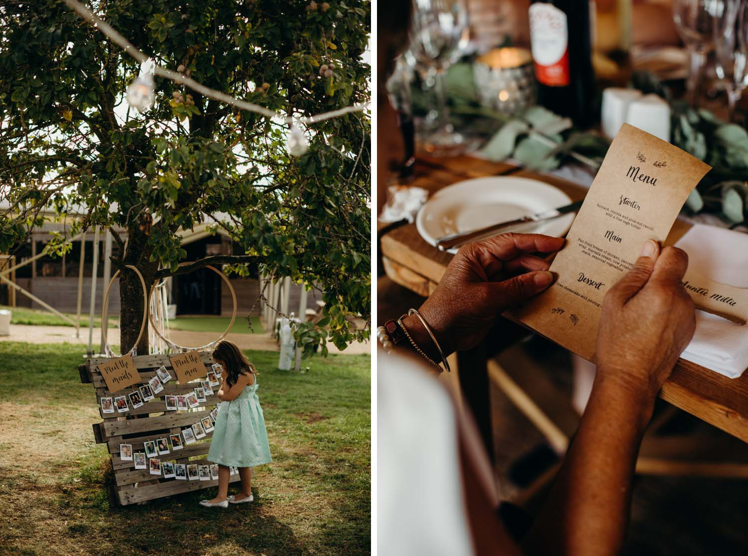 Young girl looks at wedding table plan