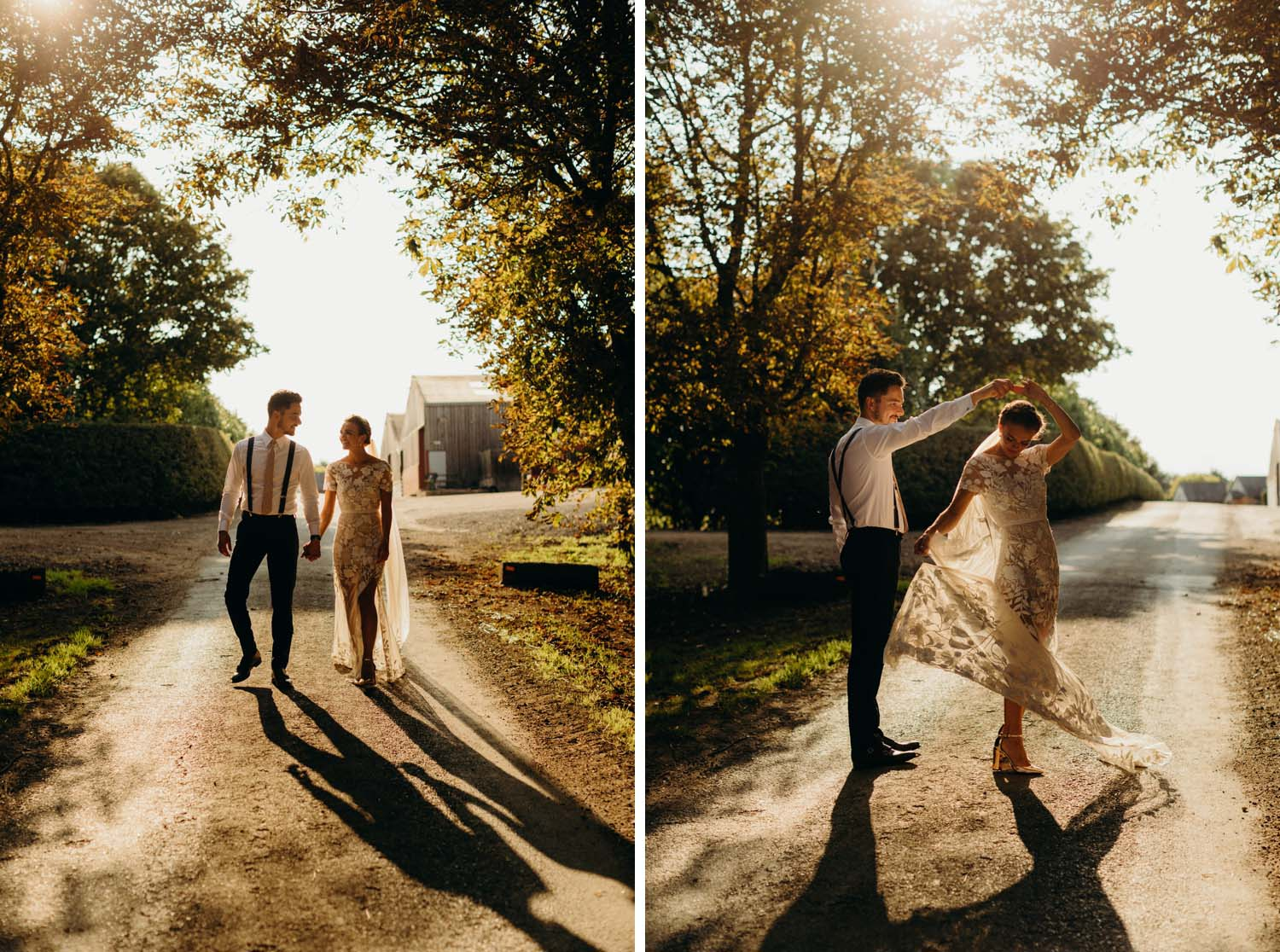 Wedding Portraits back lit in summer sun