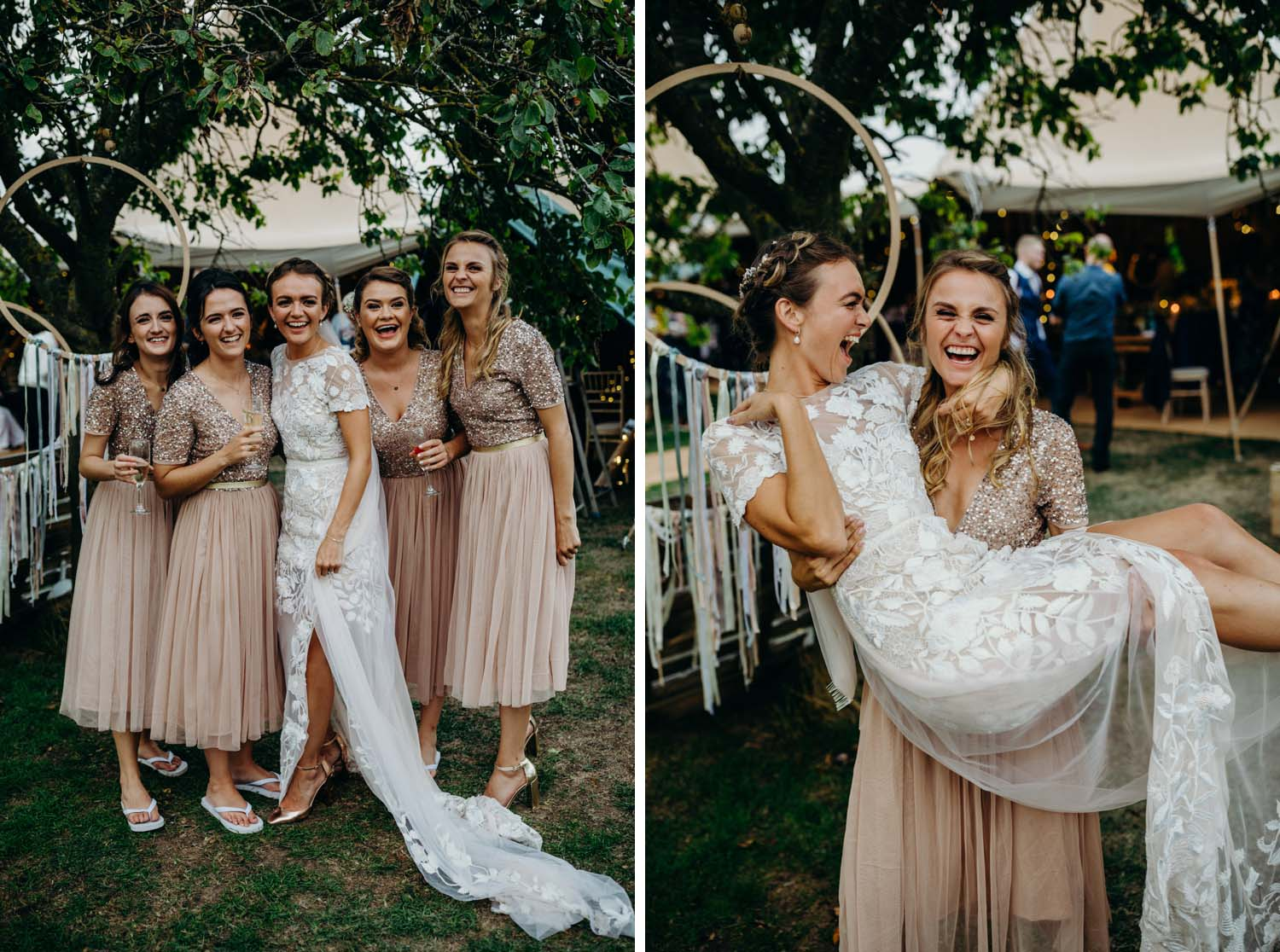 bride bring picked up by bridesmaid