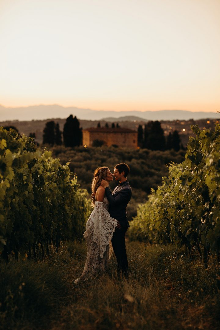 Bride and groom at sunset in Tuscany wedding