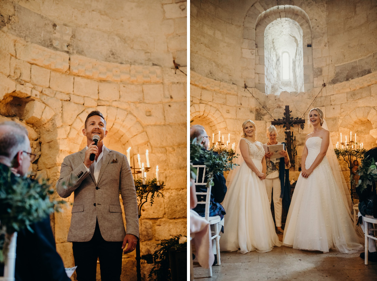 friends sing in french chapel wedding