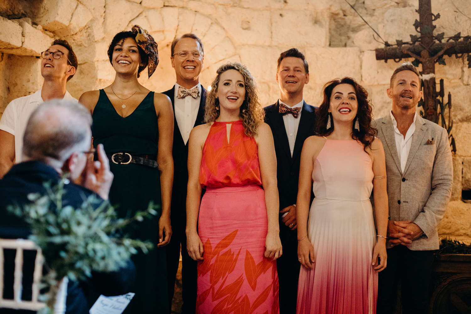 west end singers at french chateau wedding