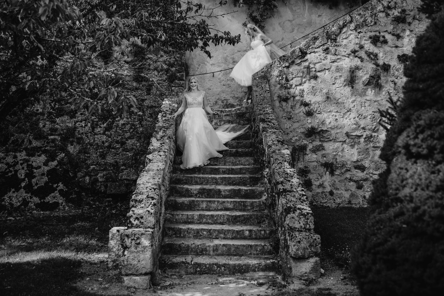 brides walking down old steps at chateau de lisse