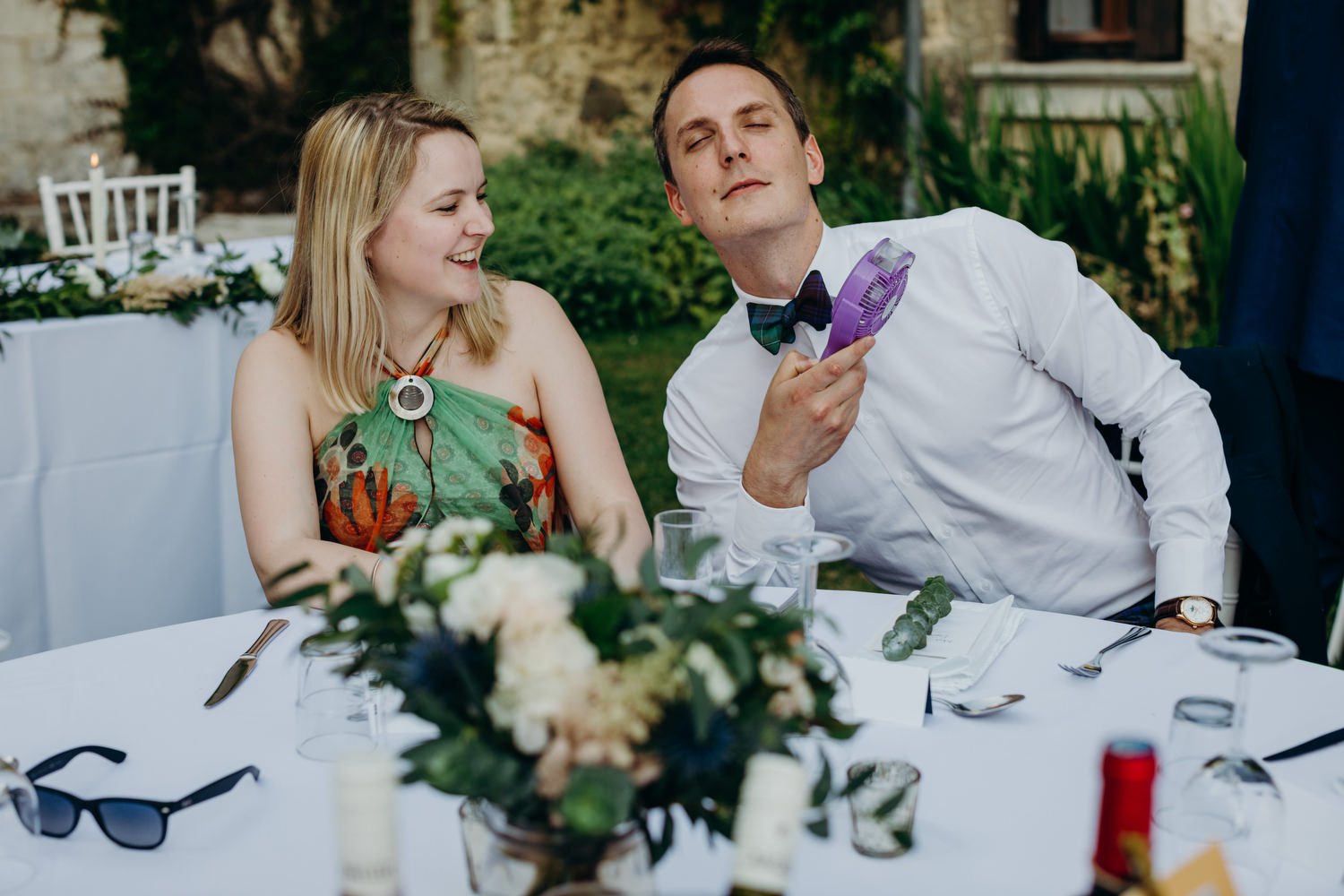 guests getting cool at wedding