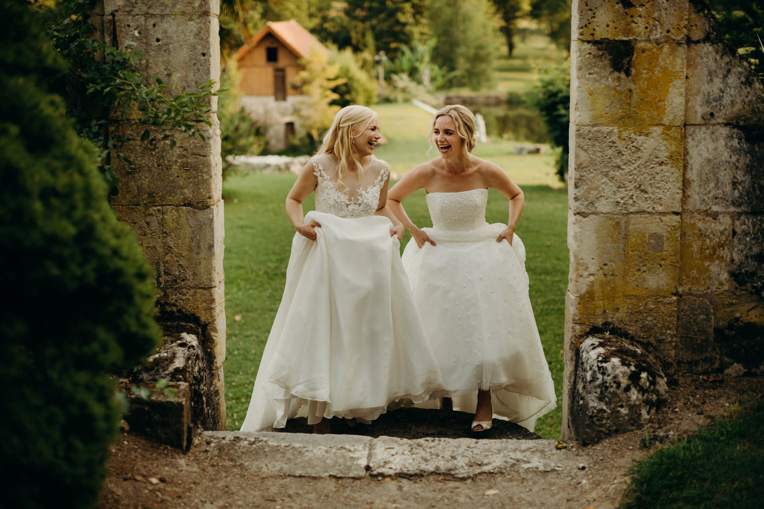 brides laughing