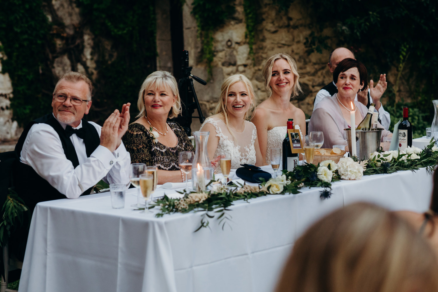 Head table during wedding speeches