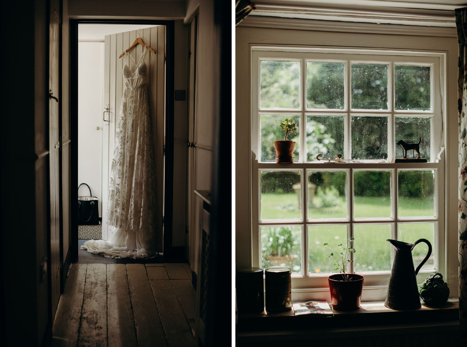 grace loves lace wedding dress hangs on door