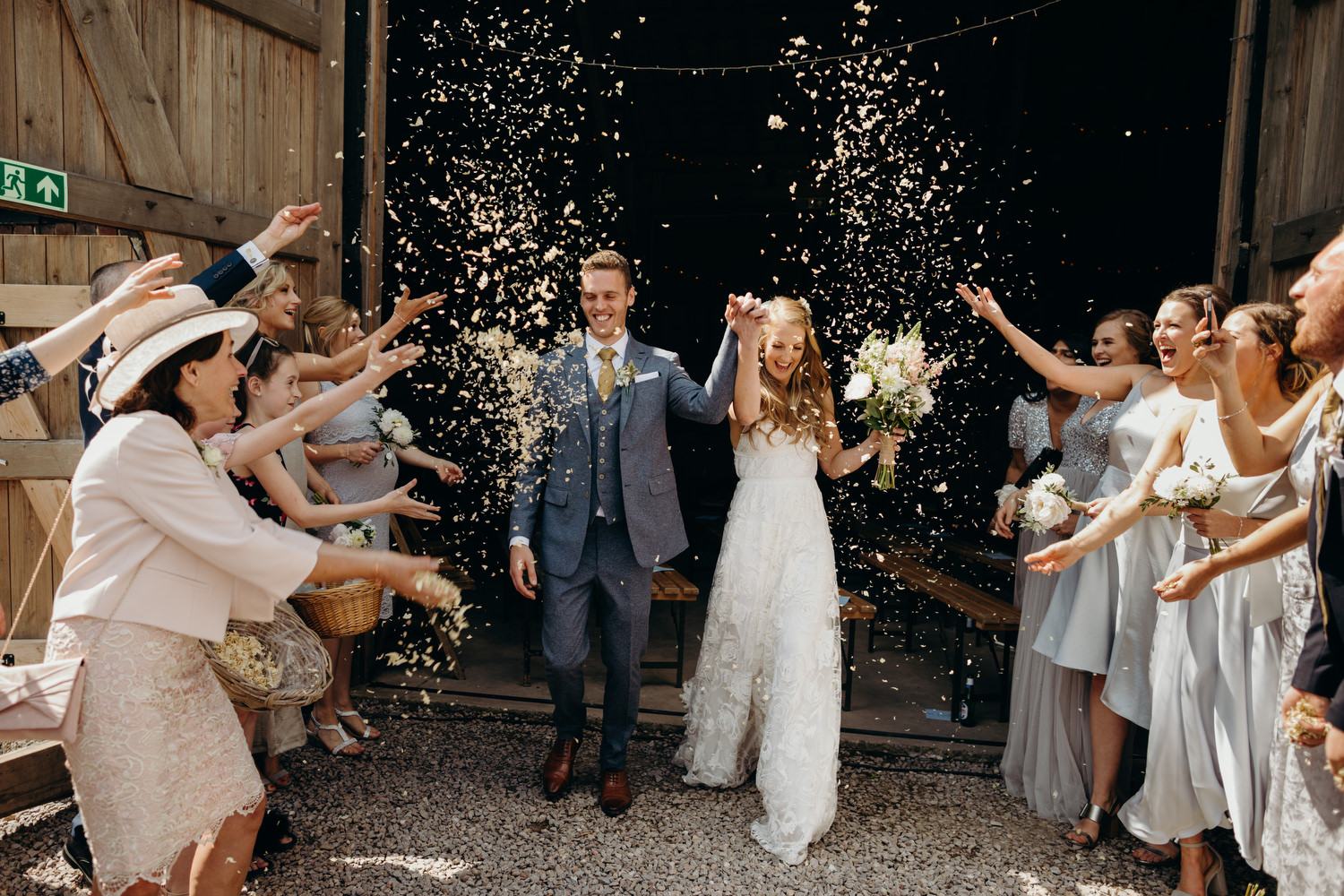 confetti throw at bride and and groom