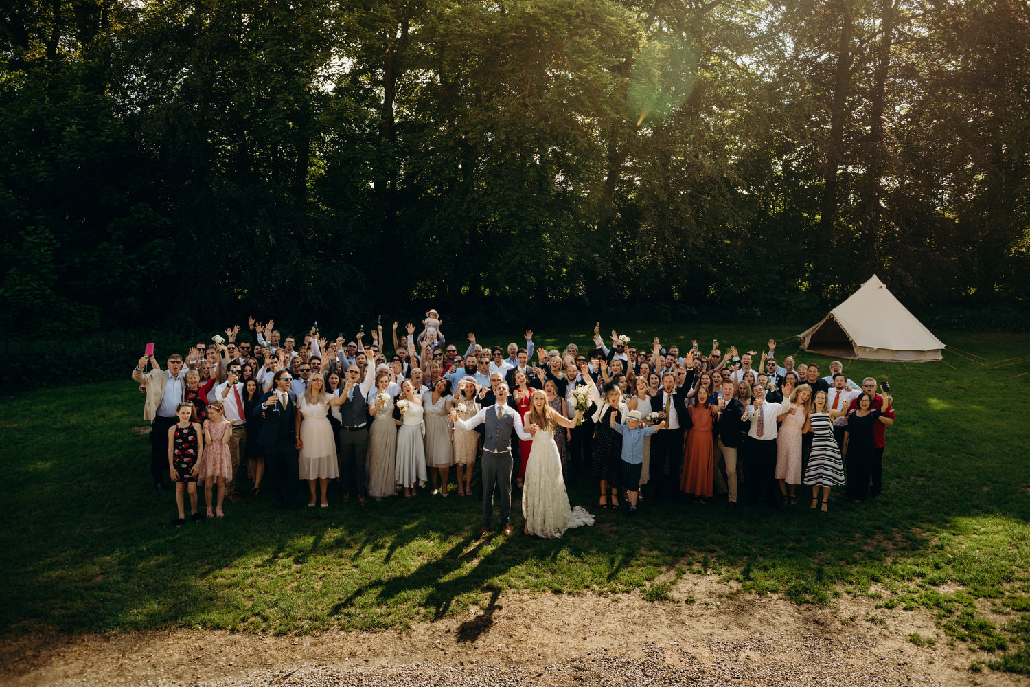 group photograph at wick bottom barn wedding