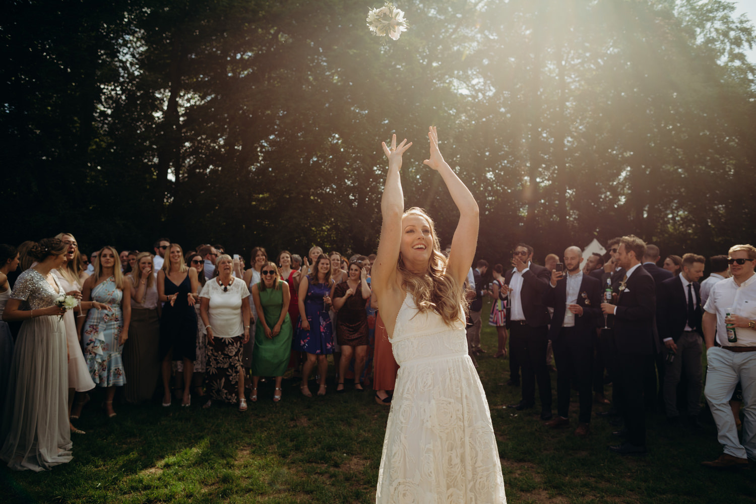 bouquet throw at wiltshire wedding