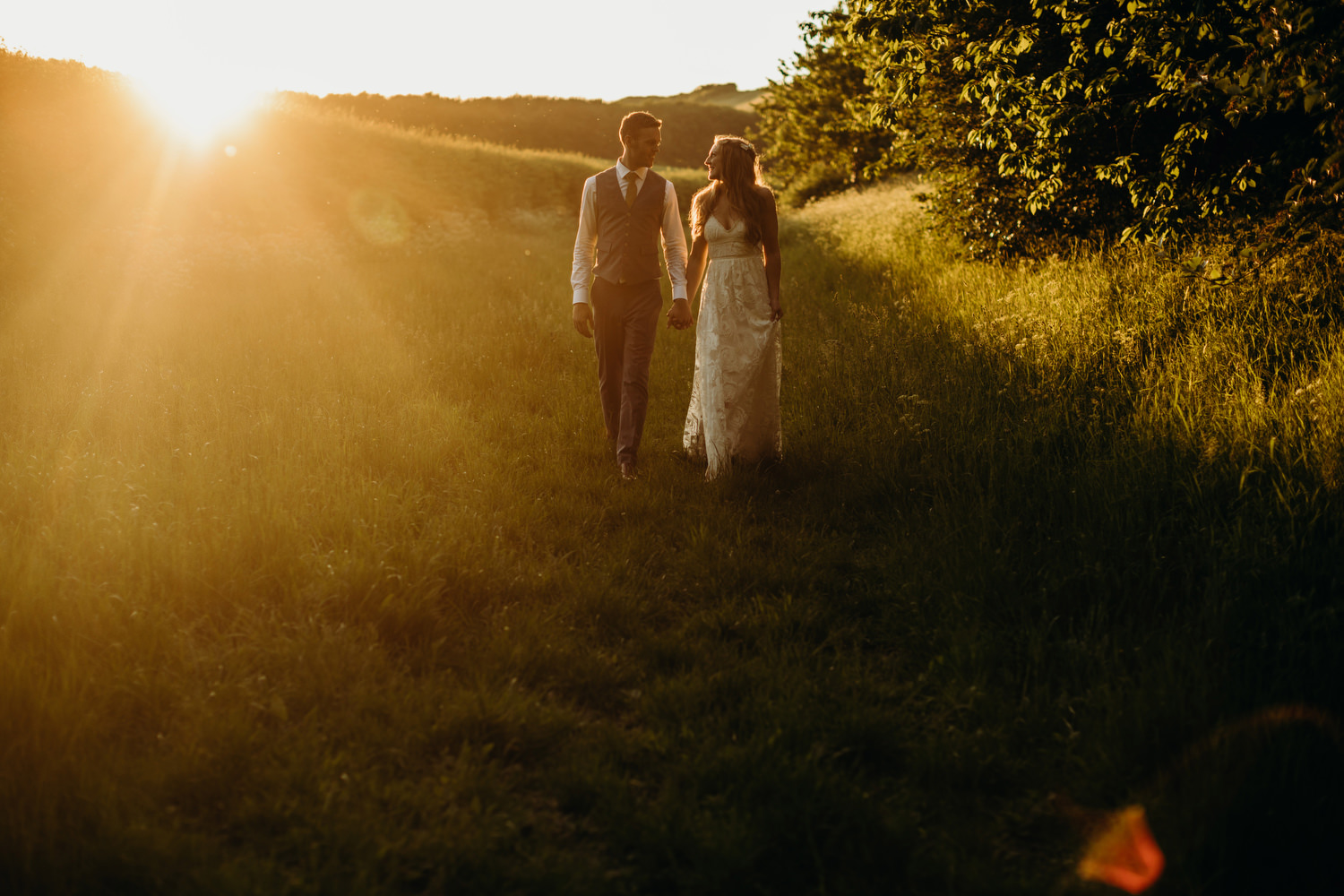 sunset at wick bottom barn wedding
