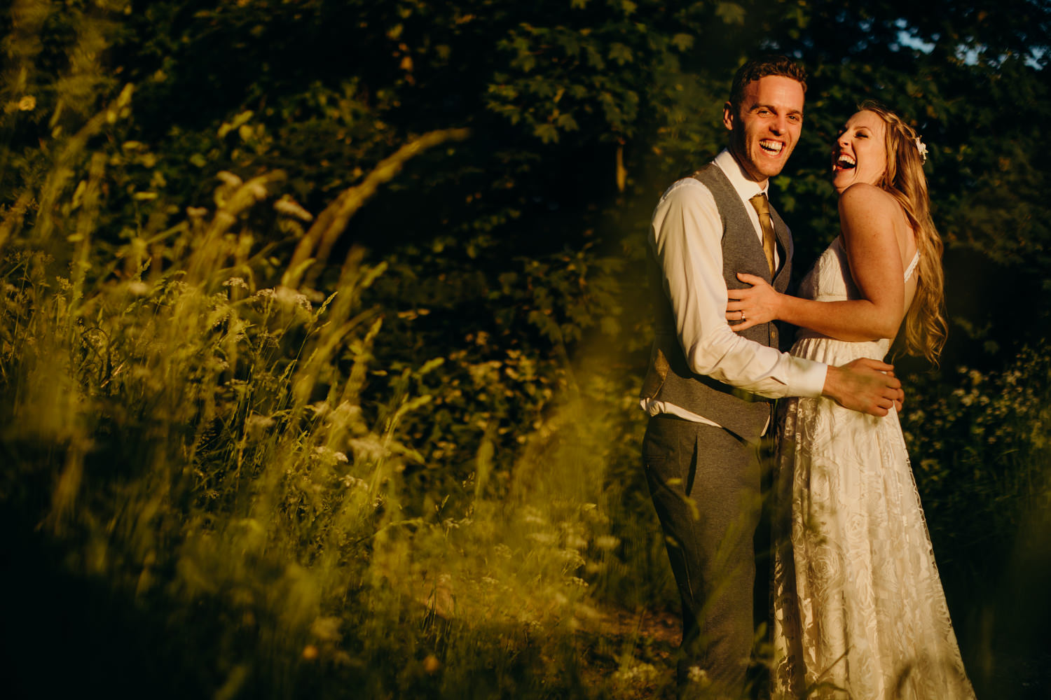 couple pose at wiltshire wedding