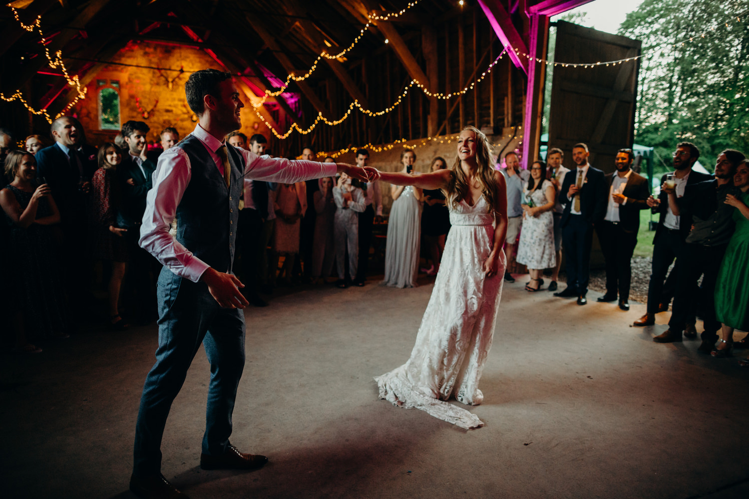 bride and groom first dance at wick bottom barn