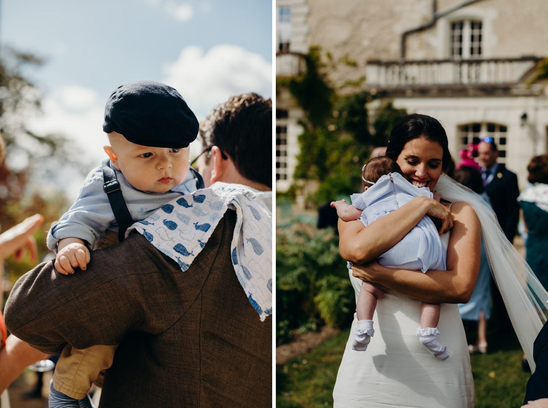 bride hugs baby