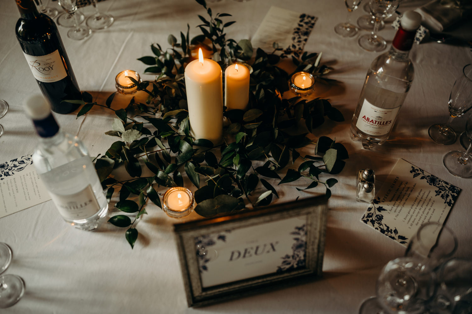 rustic table decor at french wedding