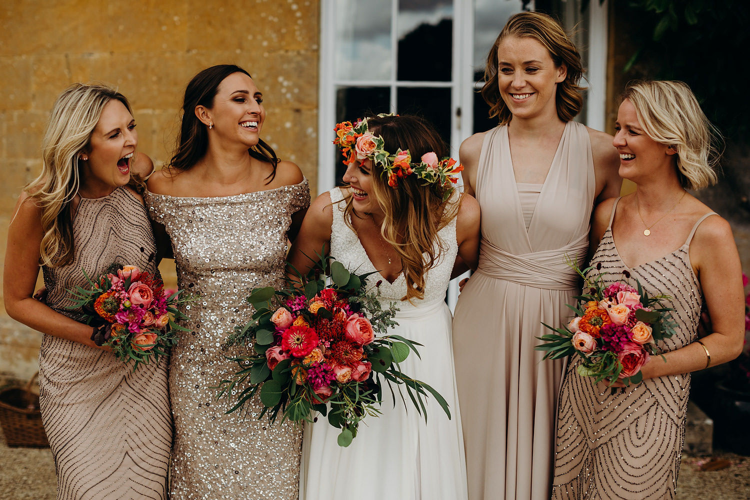 colourful bride with bridesmaids