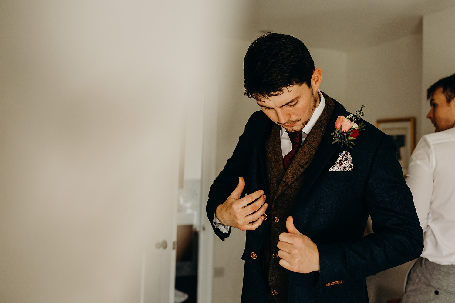 groom gets ready at devon wedding