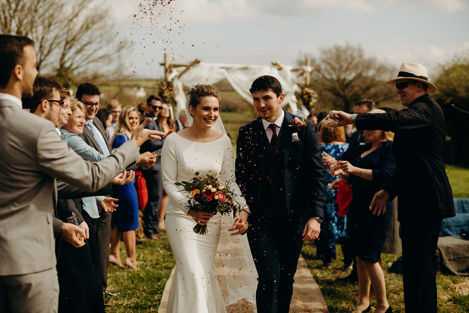 confetti during outdoor ceremony