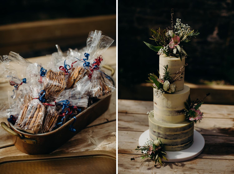 wedding cake and gifts